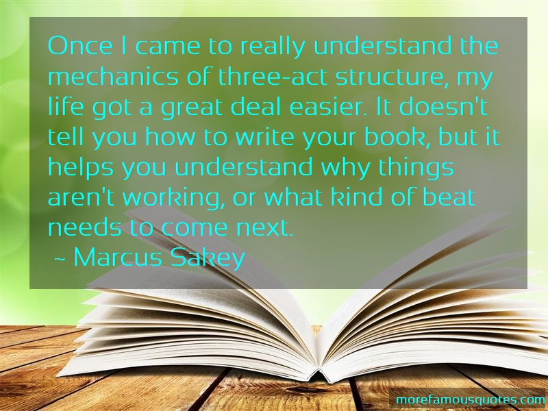 Marcus Sakey Quotes: Once I Came To Really Understand The