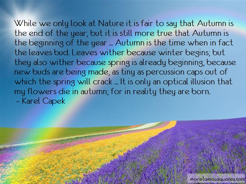 Karel Capek Quotes: While we only look at nature it is fair