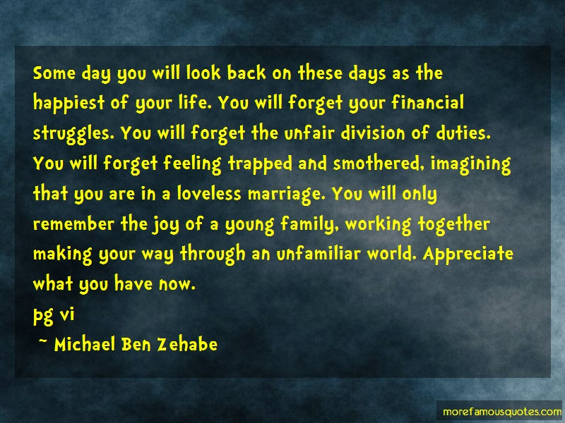 Michael Ben Zehabe Quotes: Some Day You Will Look Back On These
