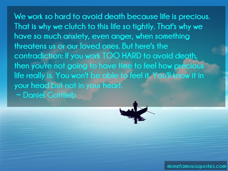 Daniel Gottlieb Quotes: We work so hard to avoid death because