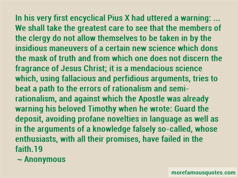 Anonymous. Quotes: In his very first encyclical pius x had