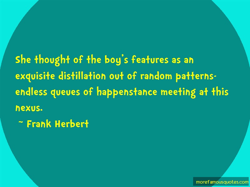 Frank Herbert Quotes: She thought of the boys features as an