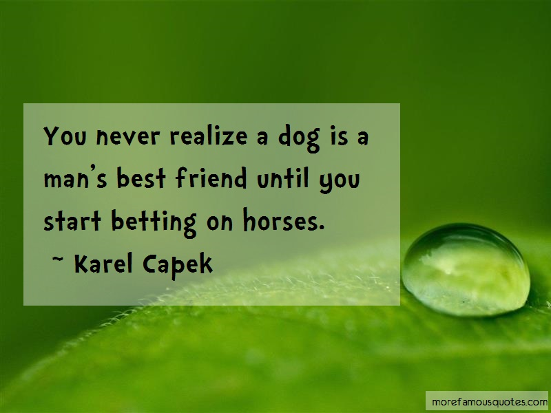 Karel Capek Quotes: You never realize a dog is a mans best