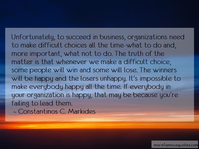Constantinos C. Markides Quotes: Unfortunately To Succeed In Business
