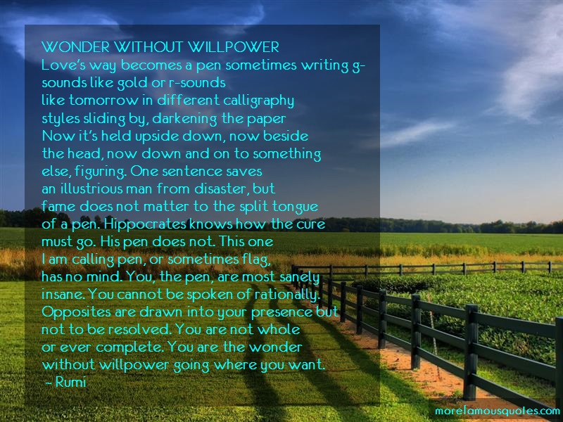 Rumi Quotes: Wonder Without Willpower Loves Way