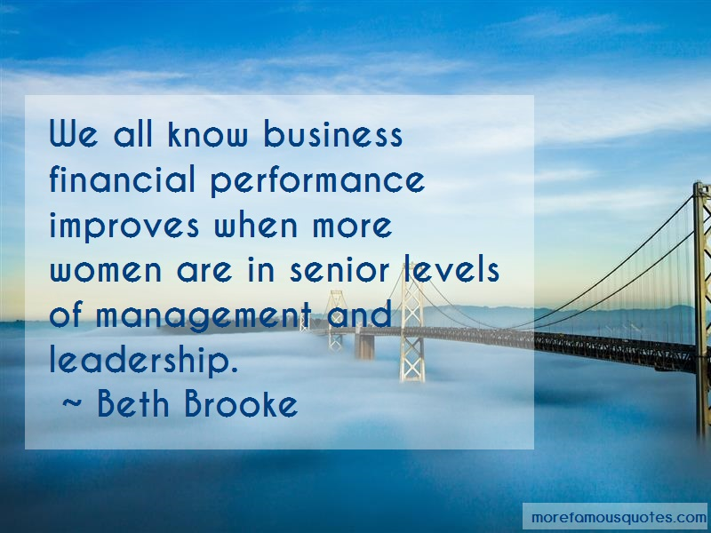 Beth Brooke Quotes: We All Know Business Financial