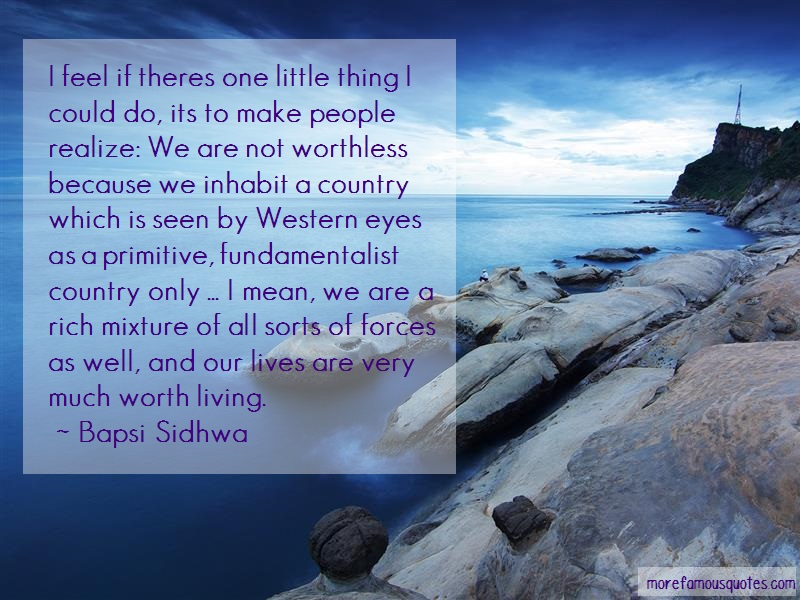 Bapsi Sidhwa Quotes: I Feel If Theres One Little Thing I