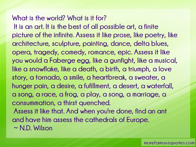 N.D. Wilson Quotes: What is the world what is it for it is
