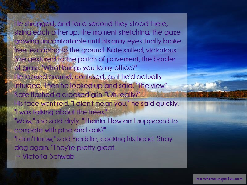 Victoria Schwab Quotes: He shrugged and for a second they stood