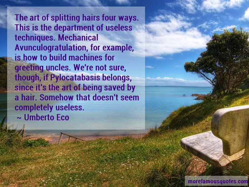 Umberto Eco Quotes: The Art Of Splitting Hairs Four Ways