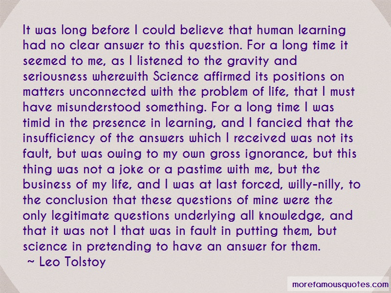 Leo Tolstoy Quotes: It Was Long Before I Could Believe That