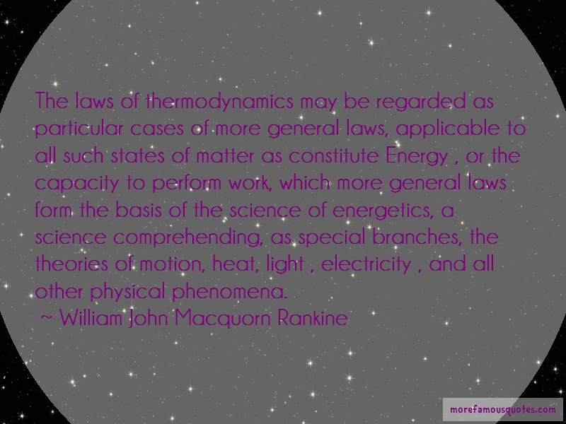 William John Macquorn Rankine Quotes: The Laws Of Thermodynamics May Be