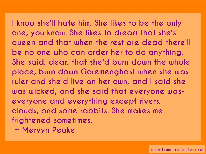 Mervyn Peake Quotes: I know shell hate him she likes to be