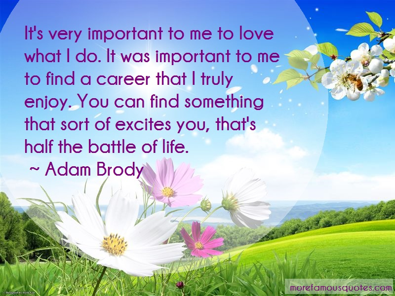 Adam Brody Quotes: Its very important to me to love what i
