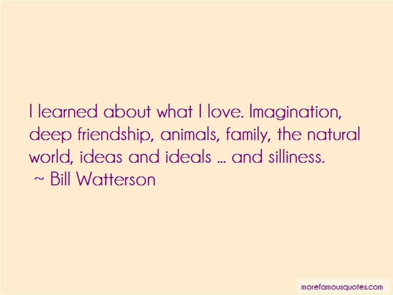 Bill Watterson Quotes: I learned about what i love imagination
