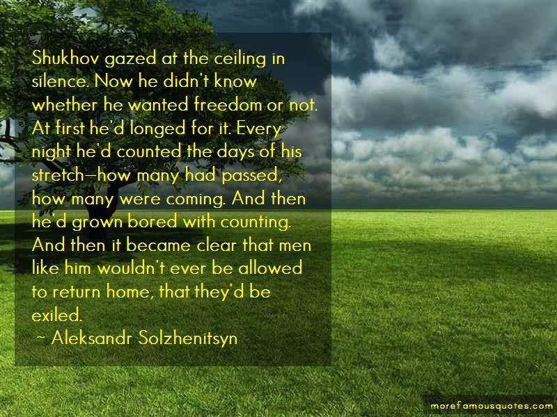 Aleksandr Solzhenitsyn Quotes: Shukhov Gazed At The Ceiling In Silence