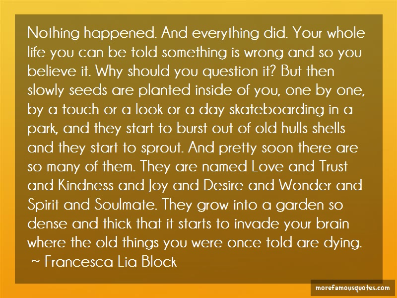 Francesca Lia Block Quotes: Nothing happened and everything did your