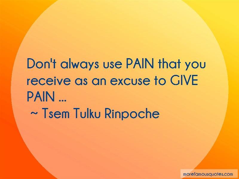 Tsem Tulku Rinpoche Quotes: Dont always use pain that you receive as