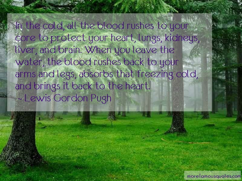Lewis Gordon Pugh Quotes: In the cold all the blood rushes to your