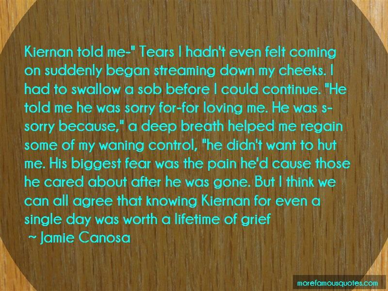 Jamie Canosa Quotes: Kiernan told me tears i hadnt even felt