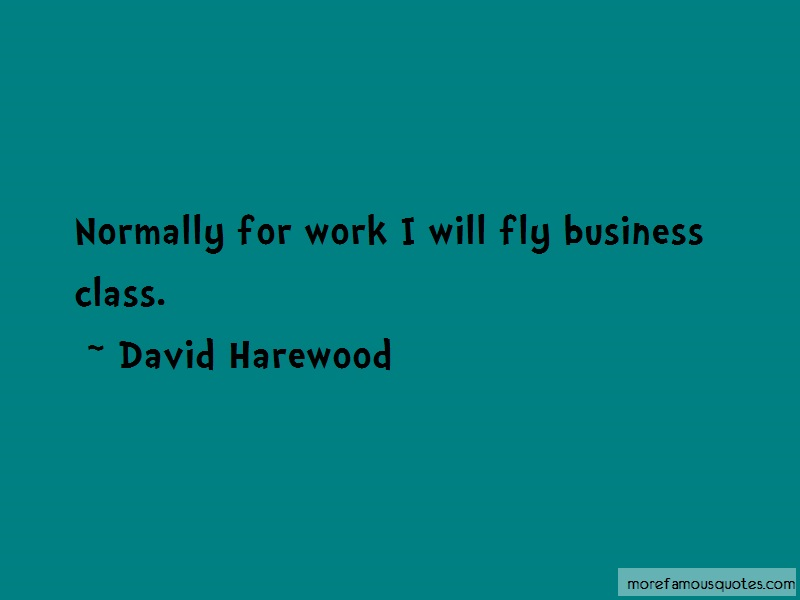David Harewood Quotes: Normally For Work I Will Fly Business