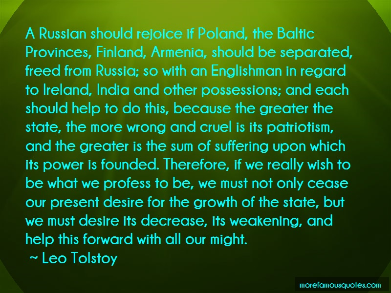 Leo Tolstoy Quotes: A russian should rejoice if poland the