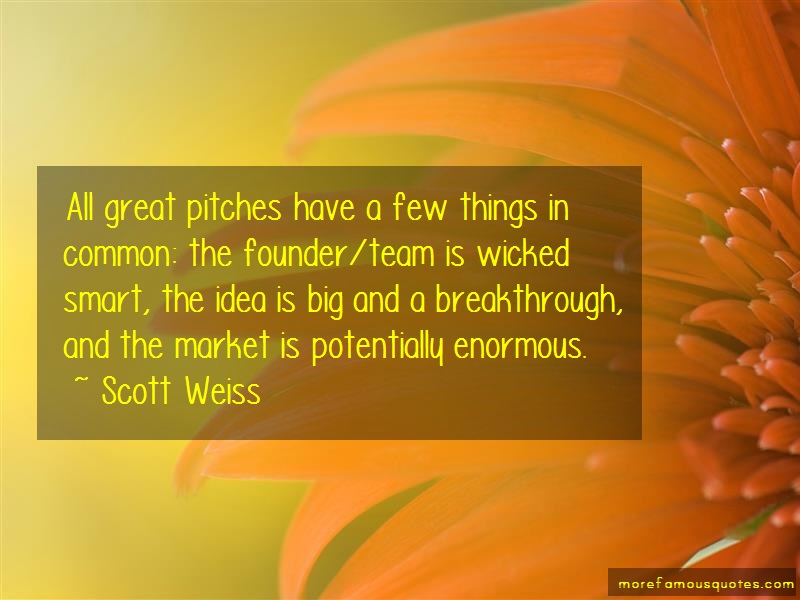 Scott Weiss Quotes: All great pitches have a few things in