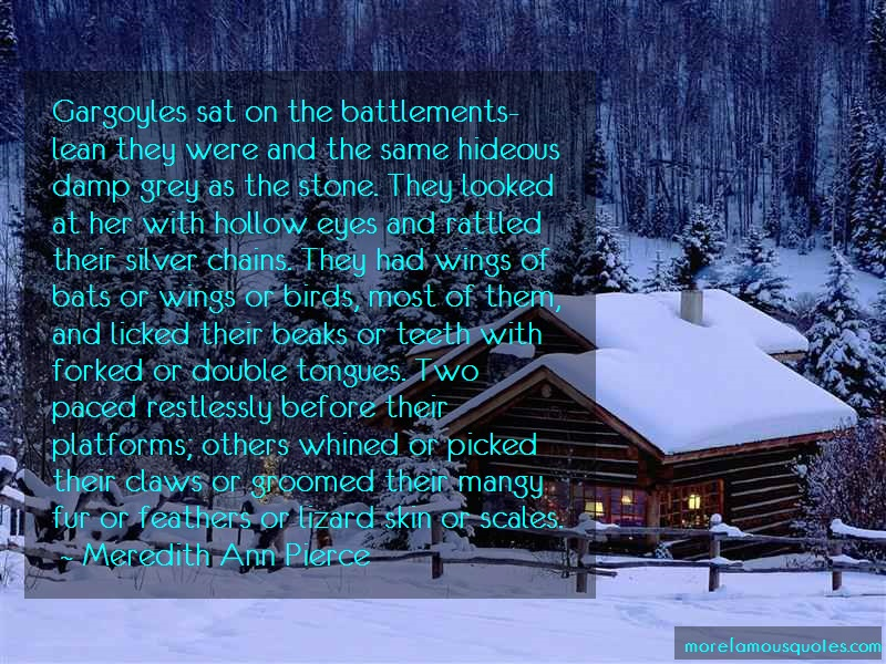 Meredith Ann Pierce Quotes: Gargoyles sat on the battlements lean