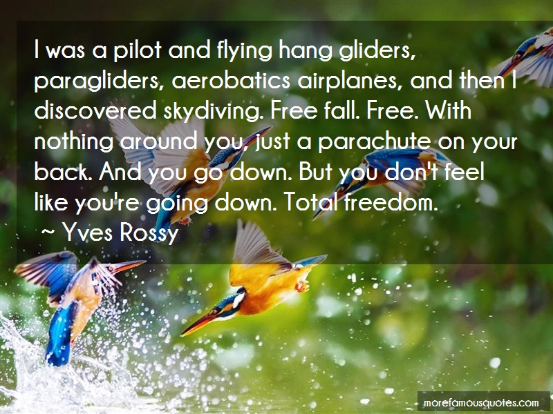 Yves Rossy Quotes: I was a pilot and flying hang gliders