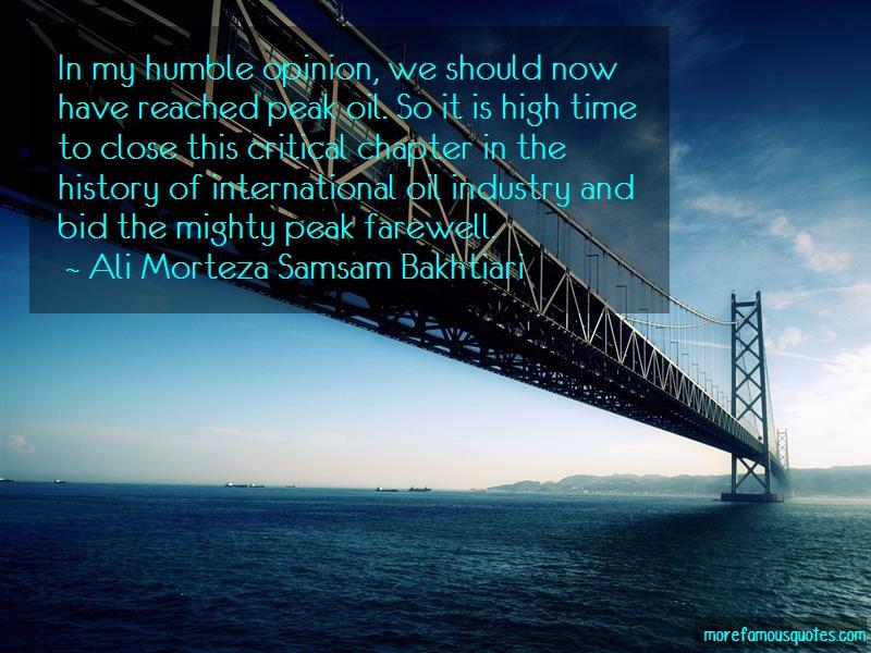 Ali Morteza Samsam Bakhtiari Quotes: In My Humble Opinion We Should Now Have