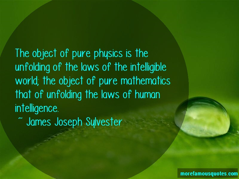 James Joseph Sylvester Quotes: The object of pure physics is the