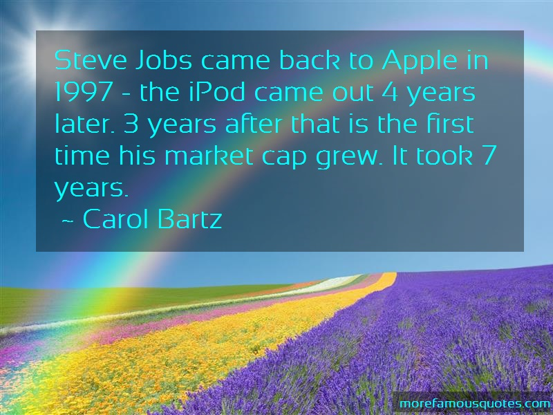 Carol Bartz Quotes: Steve jobs came back to apple in 1997