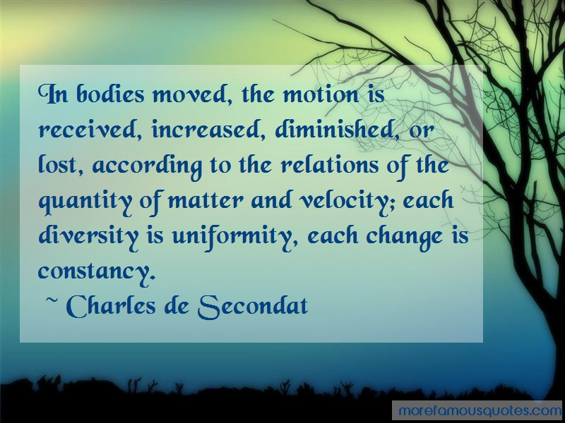 Charles De Secondat Quotes: In bodies moved the motion is received