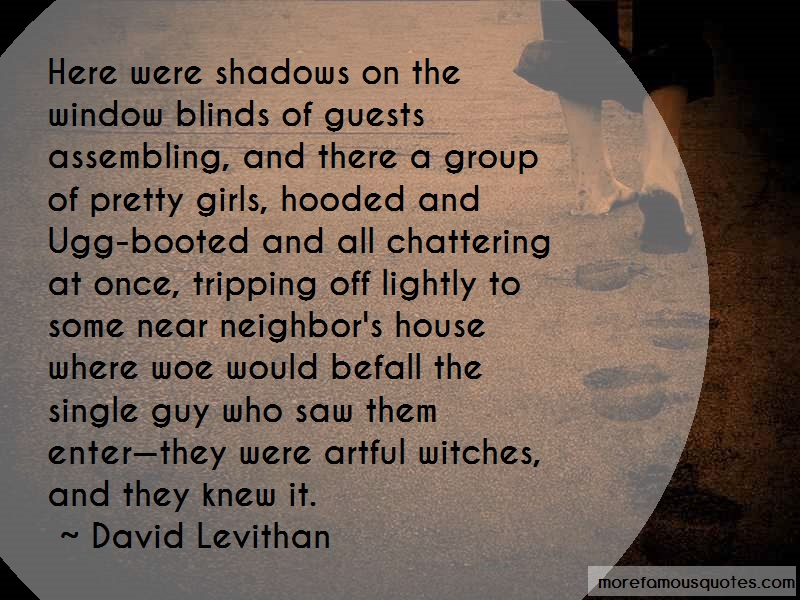 David Levithan Quotes: Here Were Shadows On The Window Blinds