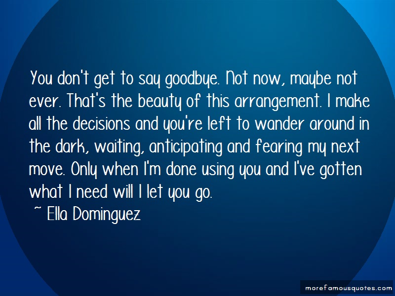 Ella Dominguez Quotes: You dont get to say goodbye not now