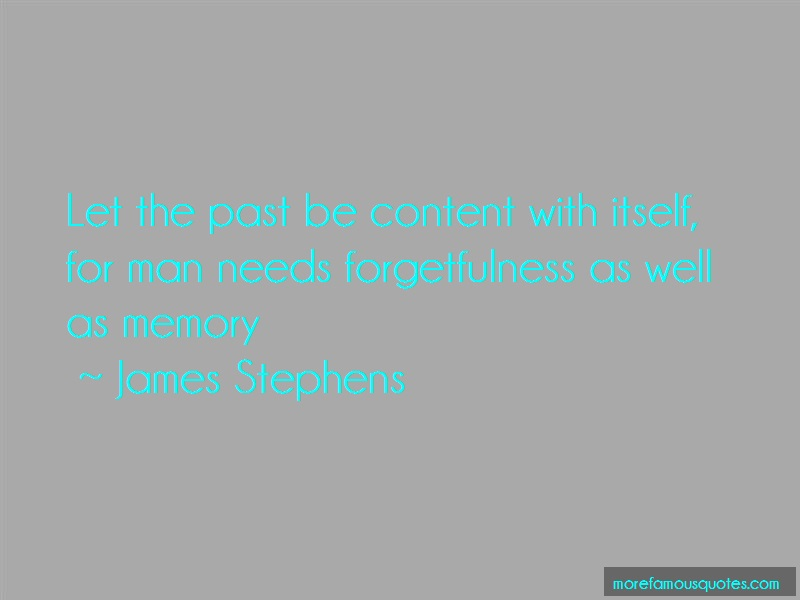 James Stephens Quotes: Let the past be content with itself for