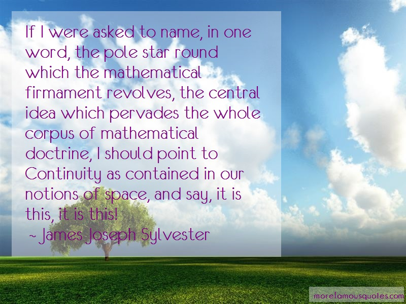 James Joseph Sylvester Quotes: If i were asked to name in one word the