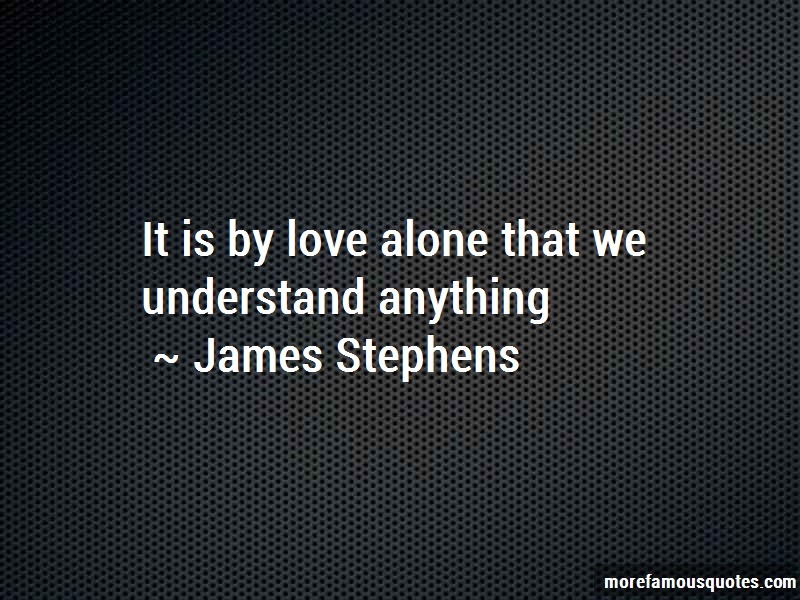 James Stephens Quotes: It is by love alone that we understand