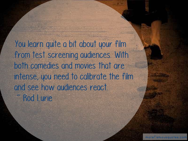 Rod Lurie Quotes: You learn quite a bit about your film