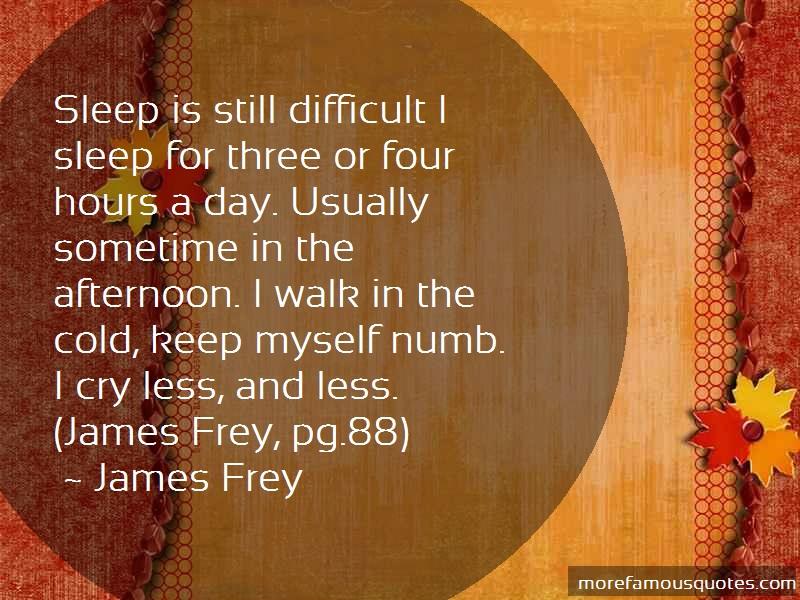 James Frey Quotes: Sleep Is Still Difficult I Sleep For