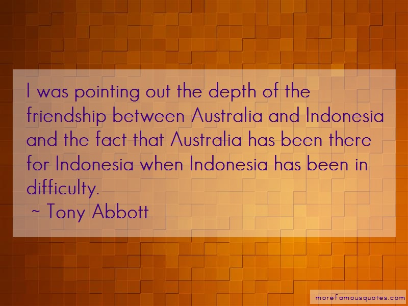Tony Abbott Quotes: I Was Pointing Out The Depth Of The