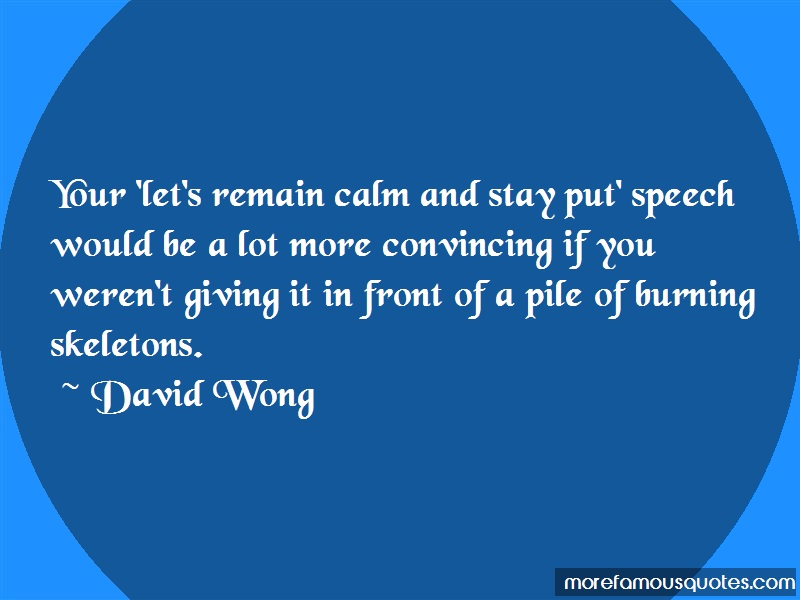 David Wong Quotes: Your lets remain calm and stay put