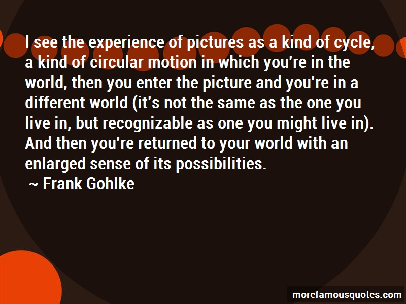 Frank Gohlke Quotes: I see the experience of pictures as a