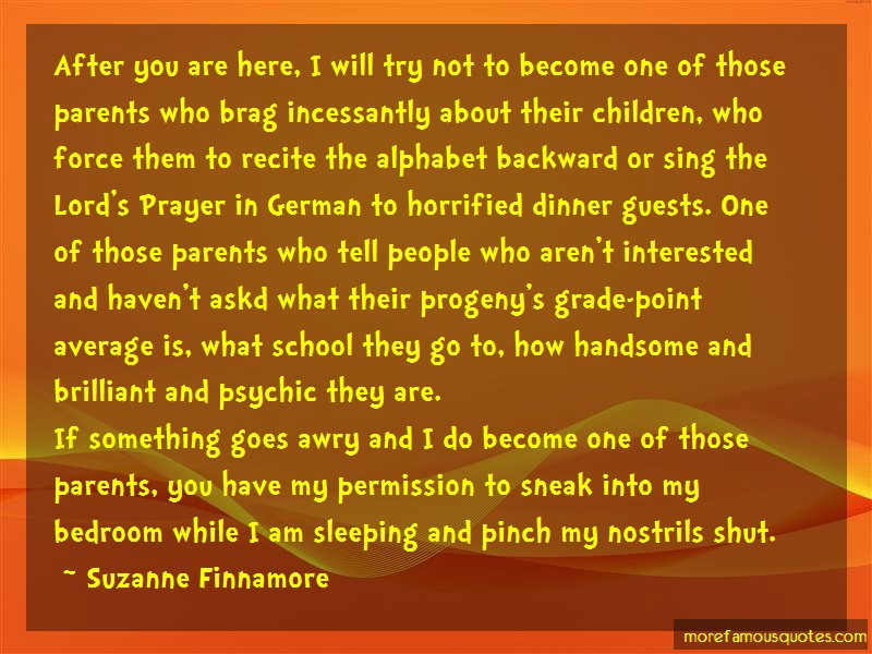 Suzanne Finnamore Quotes: After you are here i will try not to