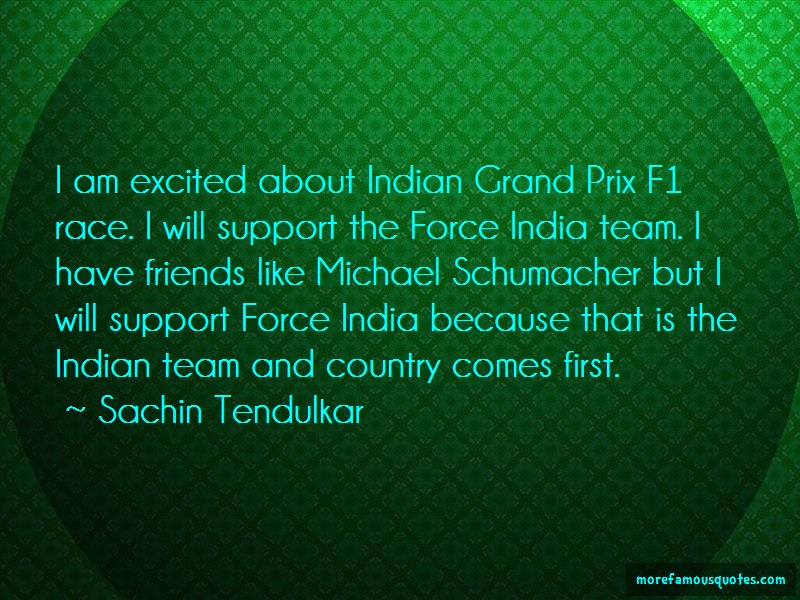 Sachin Tendulkar Quotes: I am excited about indian grand prix f1