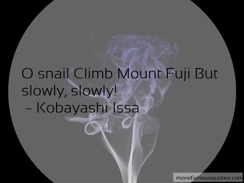 Kobayashi Issa Quotes: O snail climb mount fuji but slowly