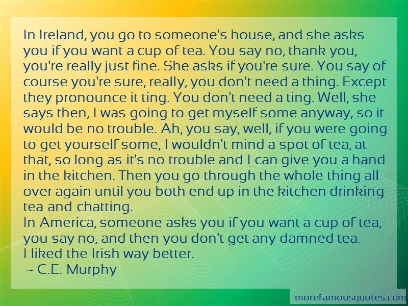 C.E. Murphy Quotes: In ireland you go to someones house and