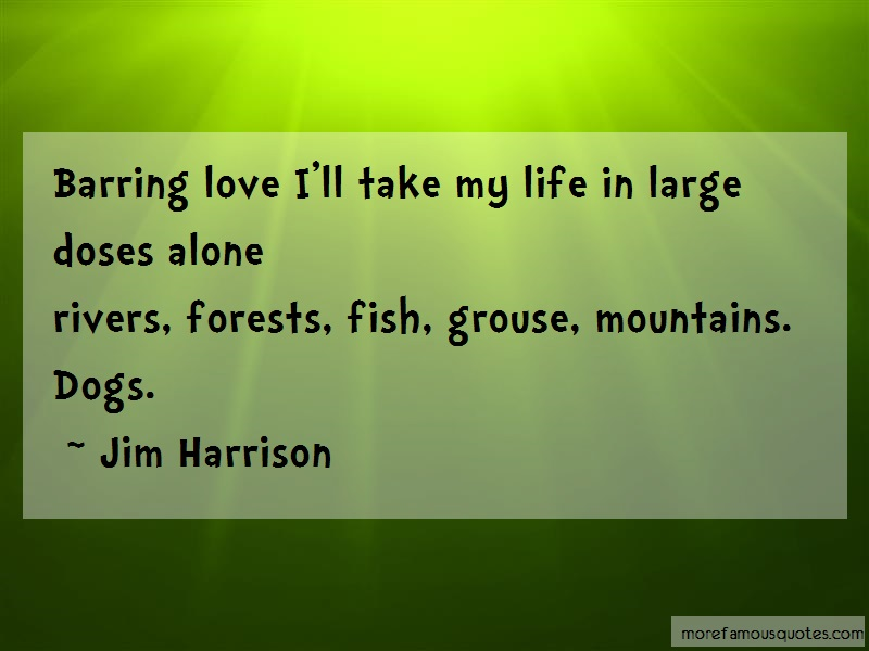 Jim Harrison Quotes: Barring Love Ill Take My Life In Large