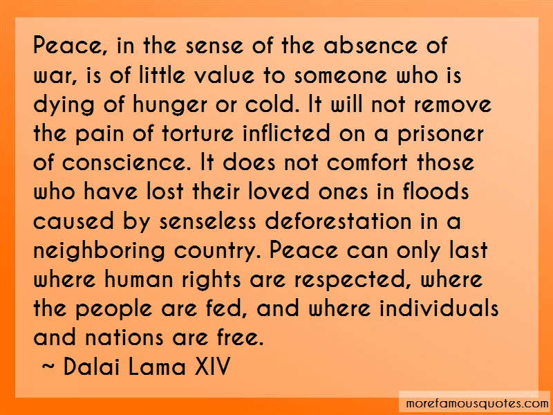 Dalai Lama XIV Quotes: Peace in the sense of the absence of war