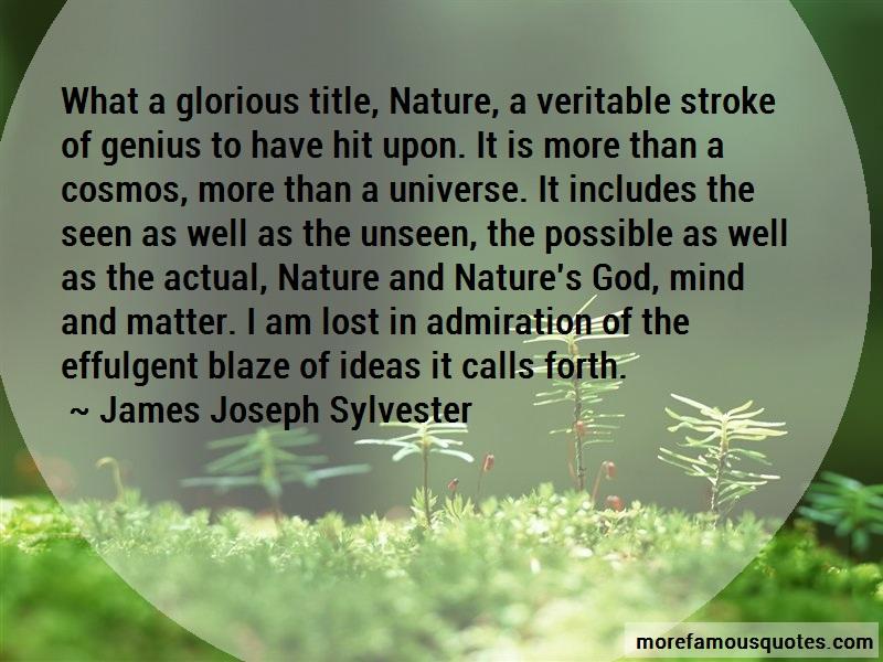 James Joseph Sylvester Quotes: What a glorious title nature a veritable